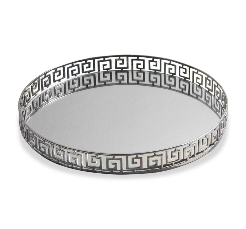 decorative round large ottoman tray in silver for home furniture ideas