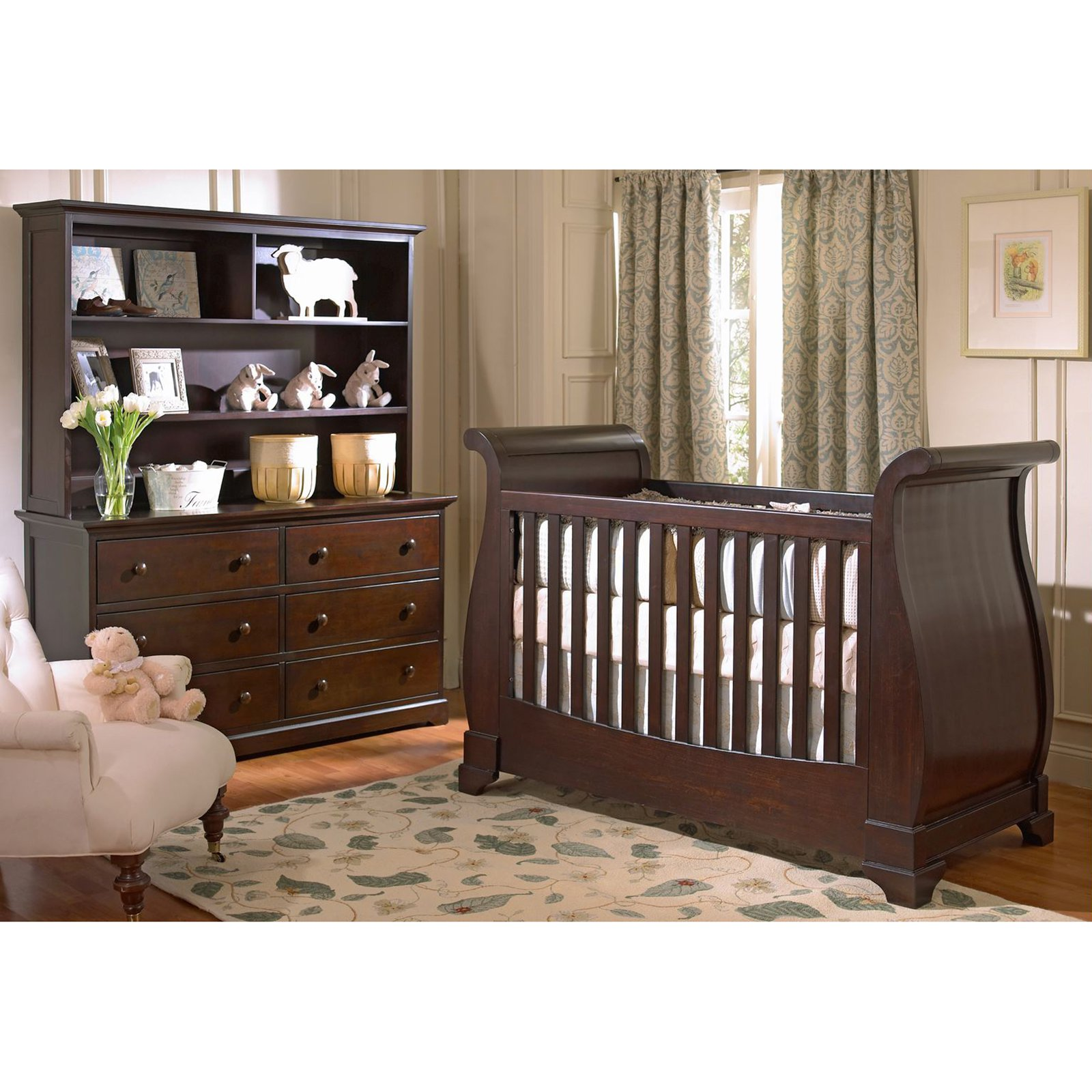 decorative wooden crib in dark brown by munire crib on wooden floor plus floral carpet and wooden vanity for nursery decor ideas
