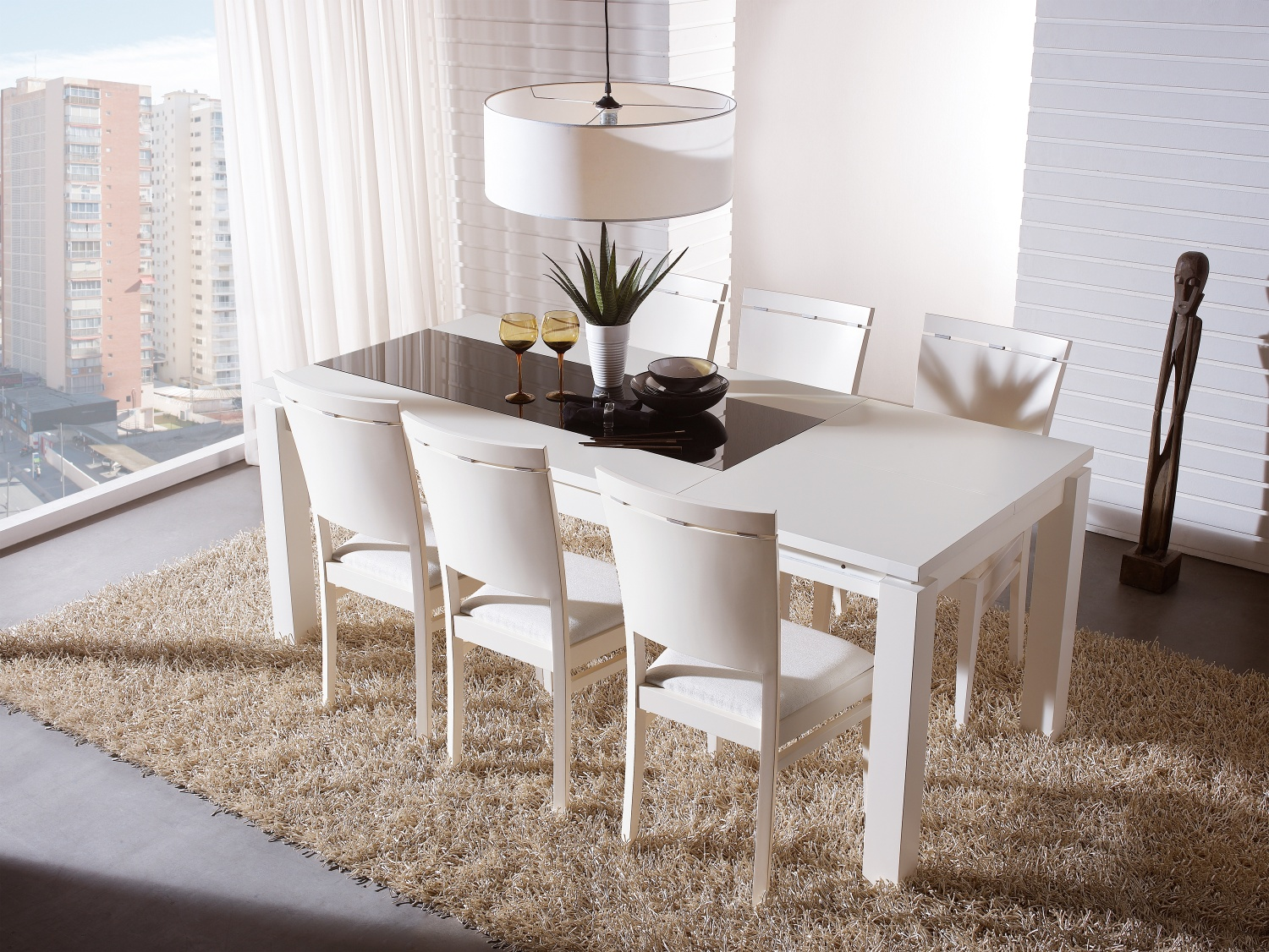 dining room decoration ideas with white expandable dining table set on cream carpet plus chandelier