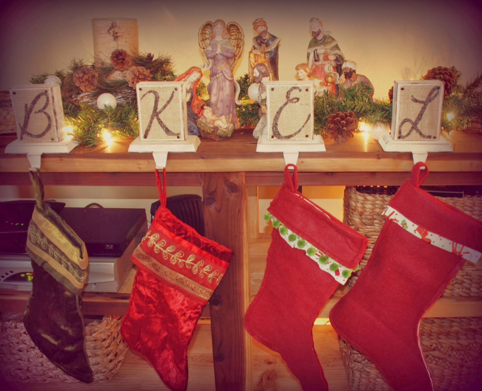 Diy Your Christmas Stocking Hanger Made Of Wood With Creative Graffity For Christmas Decoration