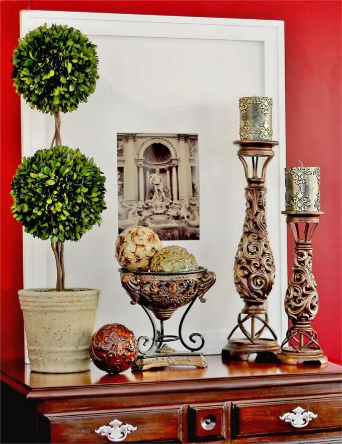 Double Ball Preserved Boxwood On White Vase With Other Decorative Ornament On Wooden Dresser For Home Decor Ideas