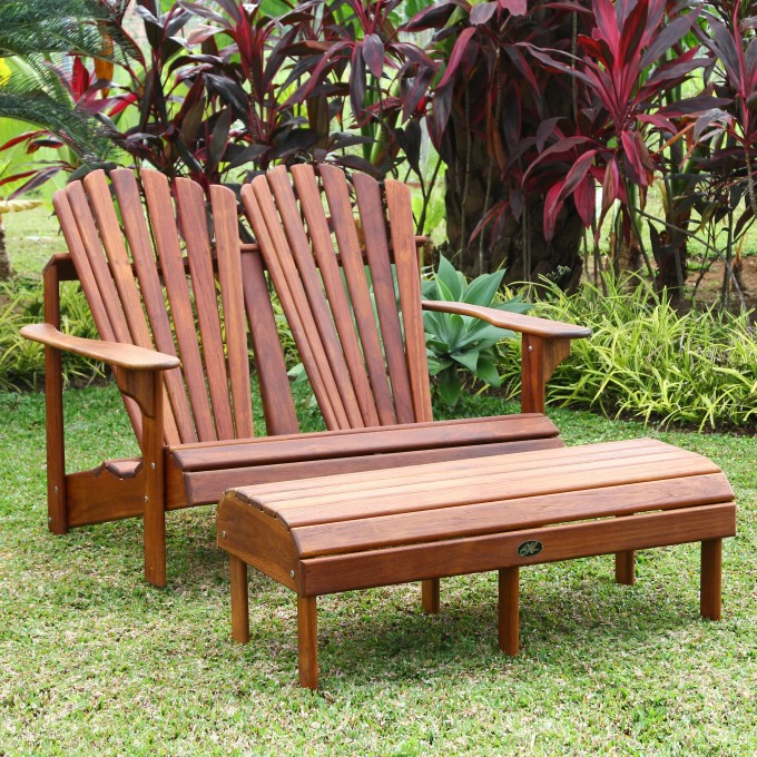 Double Brown Teak Adirondack Chairs With Wooden Ottoman For Outdoor Furniture Ideas