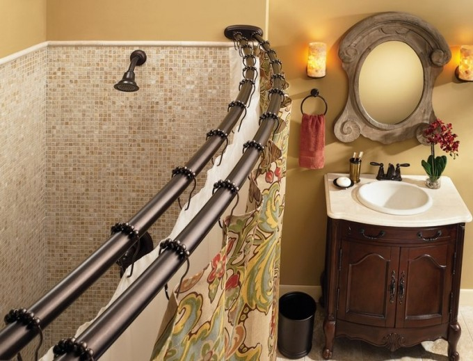 Double Curved Shower Curtain Rod In Brown With Floral Curtain And Shower Set Plus Bathroom Cabinet With Sink And Mirror For Bathroom Decor Ideas