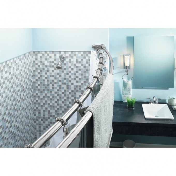 Double Curved Shower Curtain Rod With Grey Curtain And Blue Wall Plus Mirror And Sink For Bathroom Decor Ideas