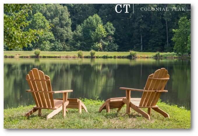 Double Teak Adirondack Chairs On Grass Near The Lake For Beautiful Garden Ideas