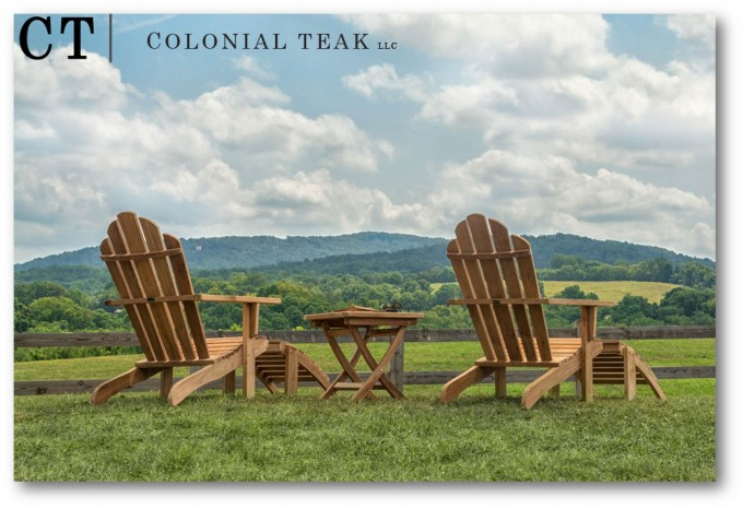 Double Teak Adirondack Chairs Plus Teak Table For Inspiring Garden Or Patio Furniture Ideas