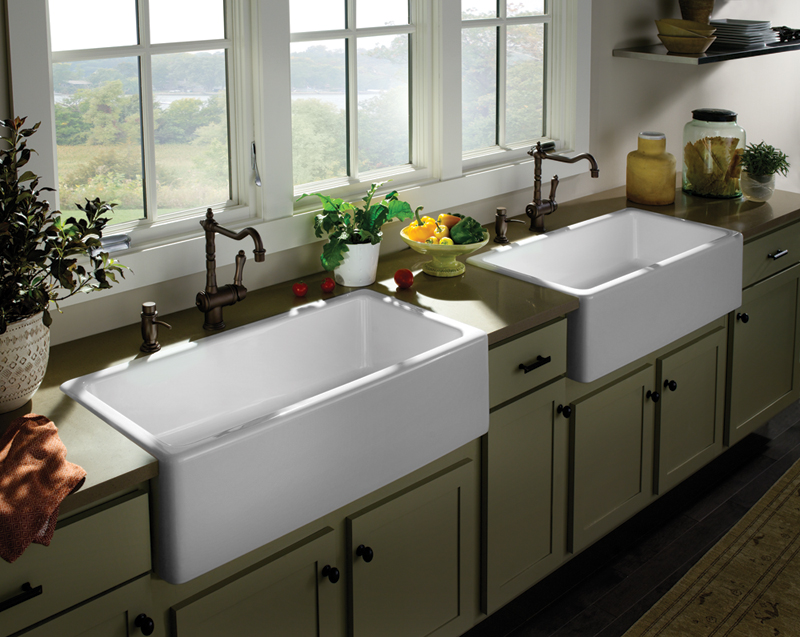 Double White Apron Sink On On Olive Kitchen Cabinet With Black Handle And Countertop Plus Double Faucet For Large Kitchen Decor Ideas