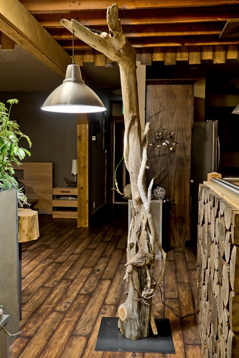 driftwood floor lamp in natural design with lamp hanged for home furniture ideas