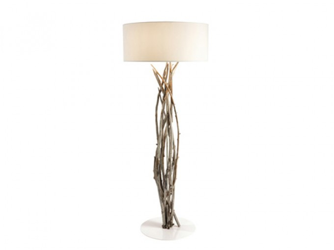 Driftwood Floor Lamp With Round White Head For Home Furniture Ideas