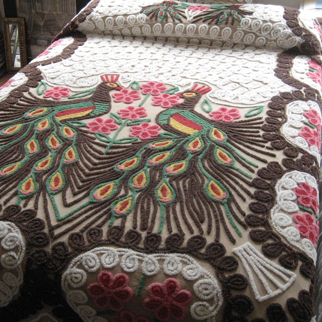 elegant bedding with charming Chenille Blanket with bird motif Ideas