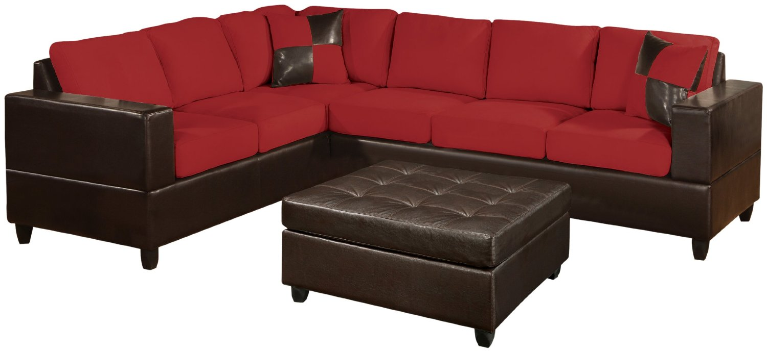 elegant cheap sectional sofas in red and black plus black ottoman for living room furniture ideas