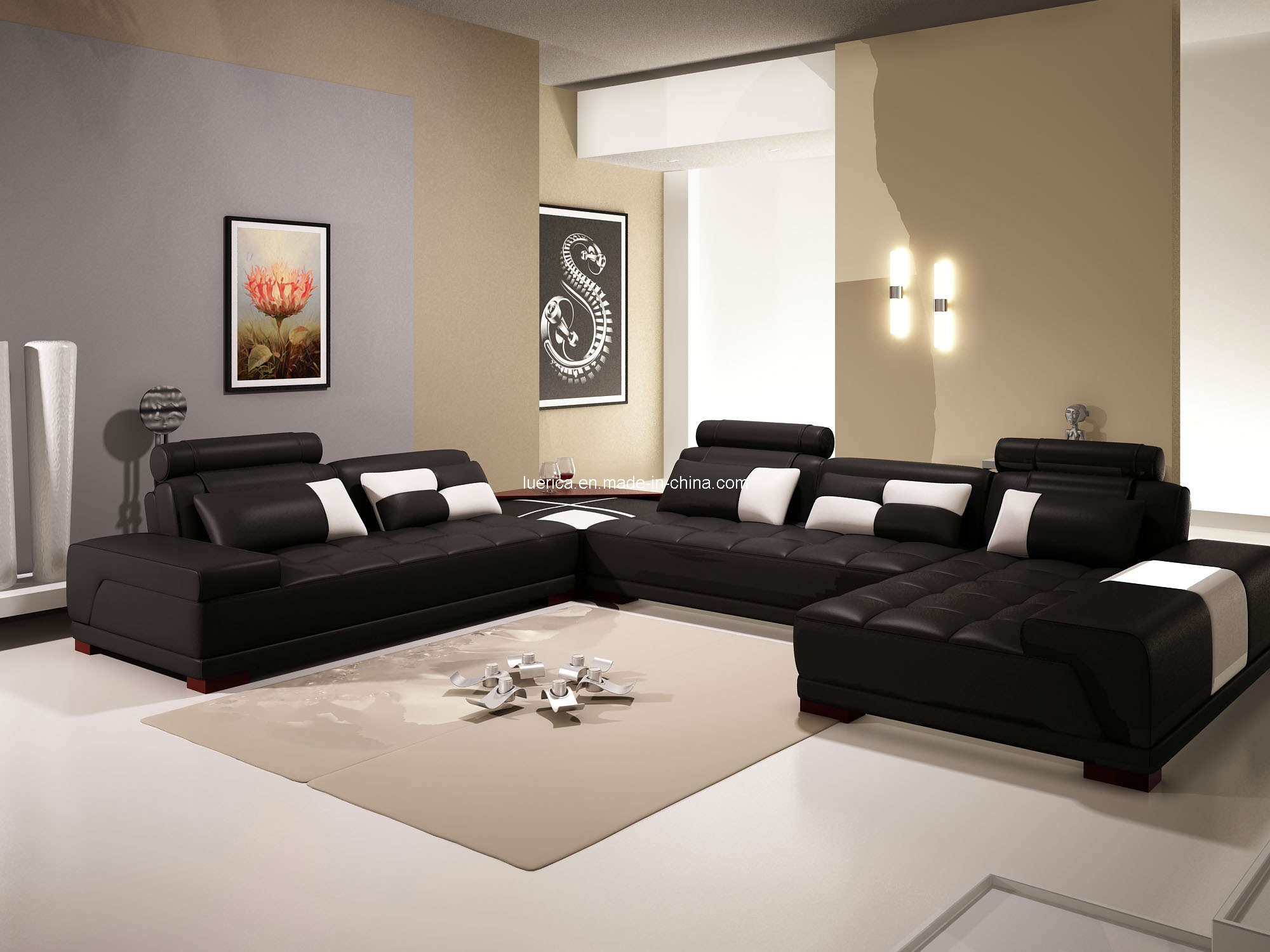 elegant leather cheap sectional sofas in black on white ceramics floor plus tan carpet matched with tan wall for living room decor ideas