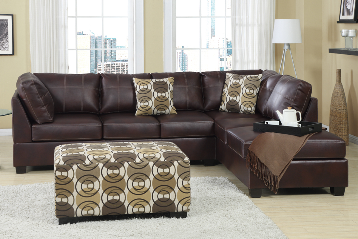 elegant leather cheap sectional sofas in dark brown plus cushions and ottoman on wooden floor plus white carpet for living room decor ideas