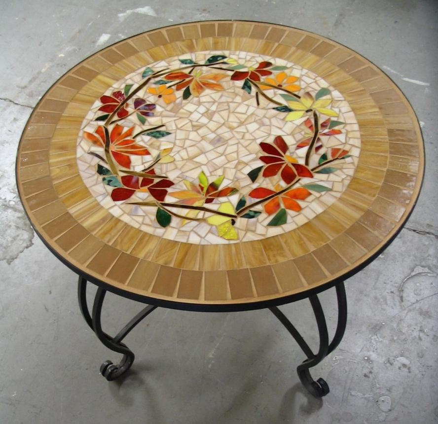 elegant Mosaic Bistro Table with flower motif and black legs for home furniture ideas