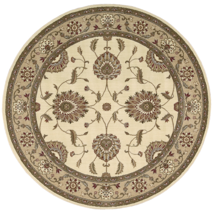 elegant round lowes rugs in cream with floral pattern for floor decor ideas