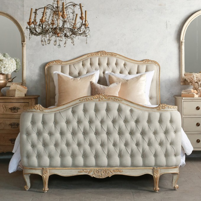 Elegant Tufted Upholstered Headboards In Gainsboro Matched With White Bedding Plus Classic Vanity And Chandelier For Bedroom Decor Ideas