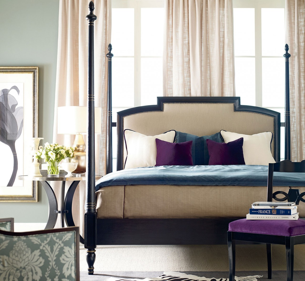 Elegant Upholstered Headboards Matched With Cream Bedding Before The Wall Window With Window And Curtain For Bedroom Decor Ideas