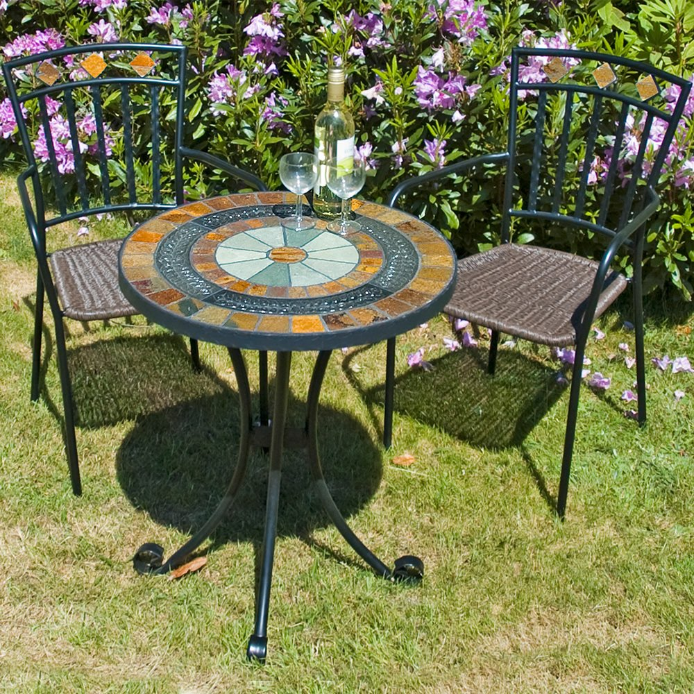 Europa Leisure Villena Mosaic Bistro Table With Malaga Chairs For Outdoor  Living Room Ideas