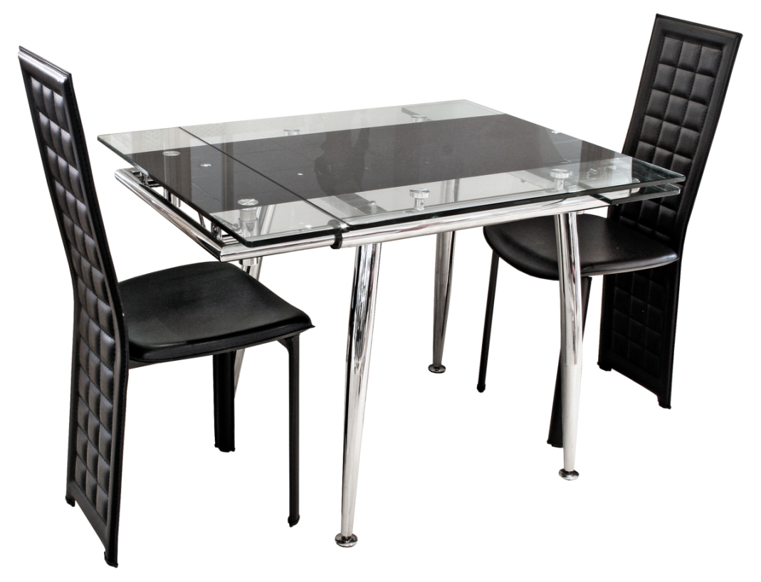 Exciting expandable dining table set in black theme with glass table surface for inspiring dining room furniture ideas