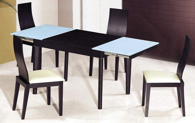 expandable dining table set in black with white seat for dining room furniture ideas