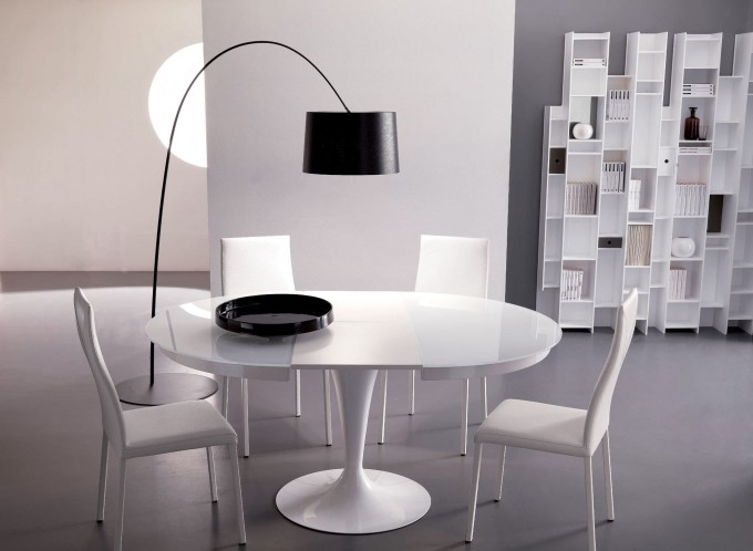 Expandable Dining Table Set In White Theme On Grey Floor Matched With White Wall Plus Rack And Floor Standing Lamp For Dining Room Decor Ideas