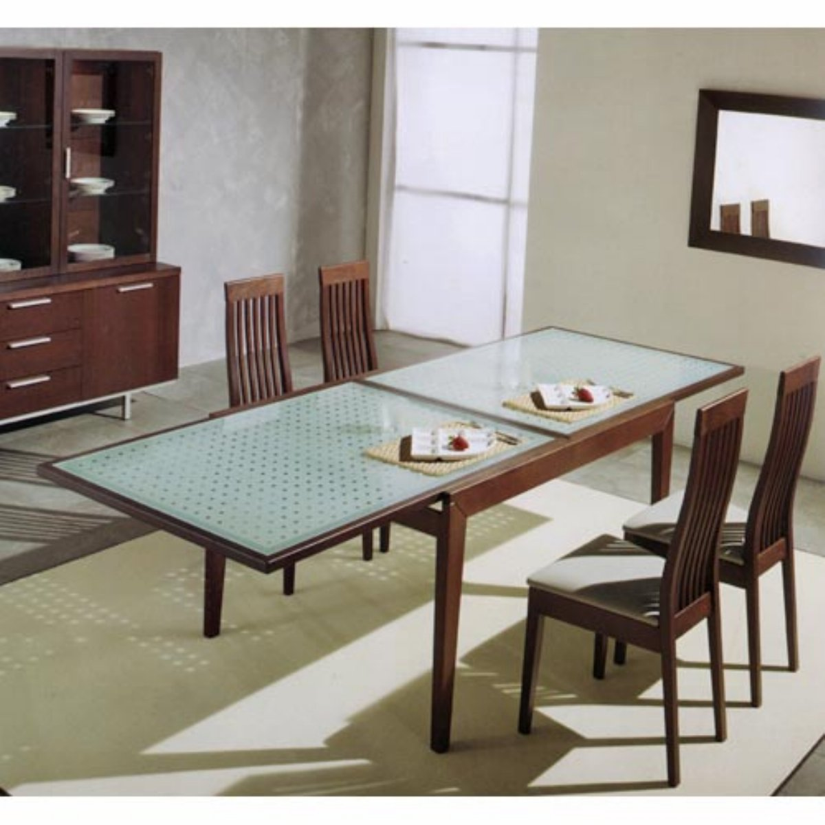 expandable dining table set with glass table and wooden chair on wheat carpet for inspiring dining room decor ideas