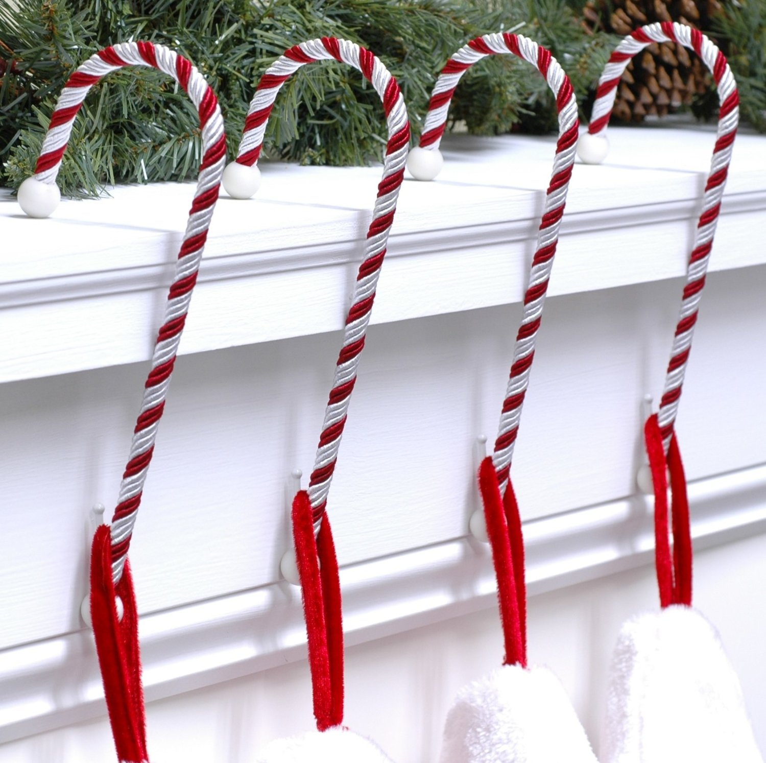 FANCY christmas stocking hanger in stick design and white red color ideas