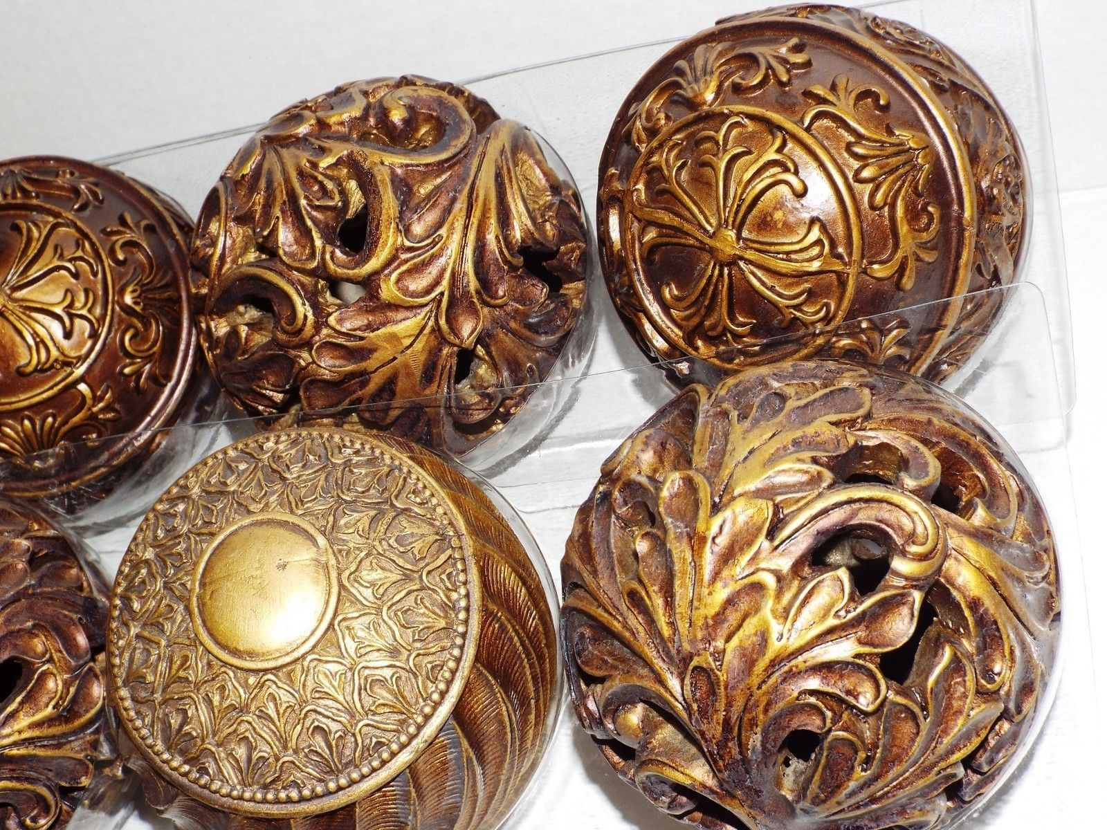 four inch decorative orbs in golden and charming design for table accessories ideas
