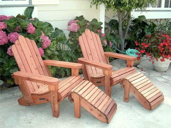 Furniture Double Traditional Teak Adirondack Chairs With Ottomans For Patio Furniture Ideas