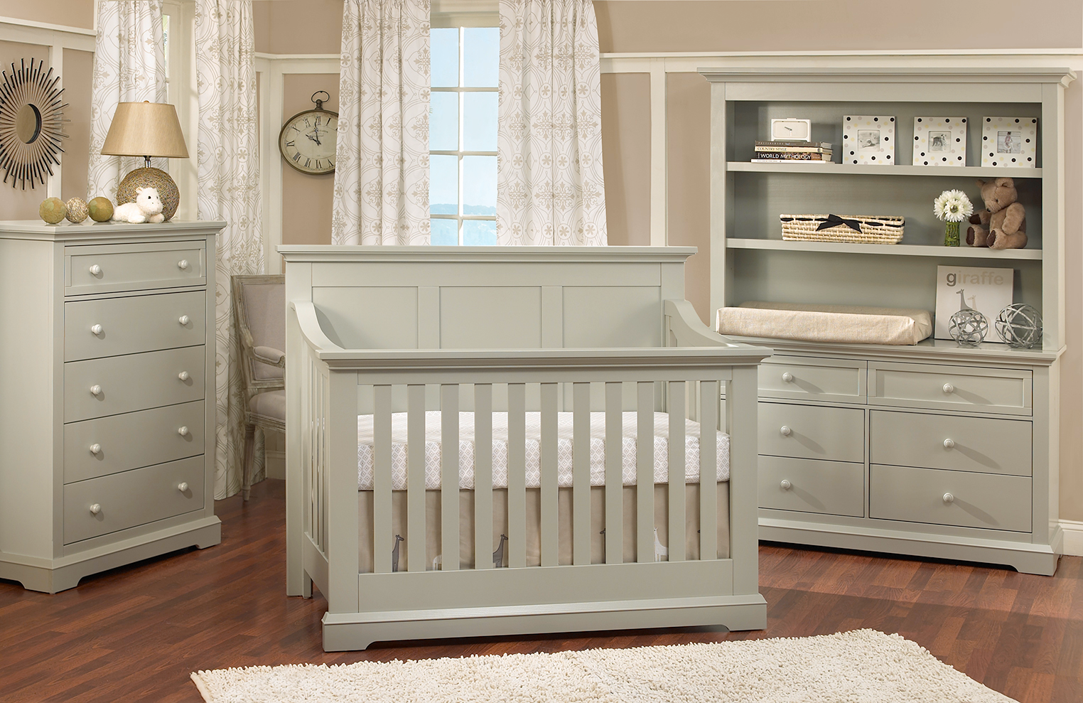 gainsboro crib by munire crib on wooden floor matched with cream wall plus window and curtain for nursery decor ideas