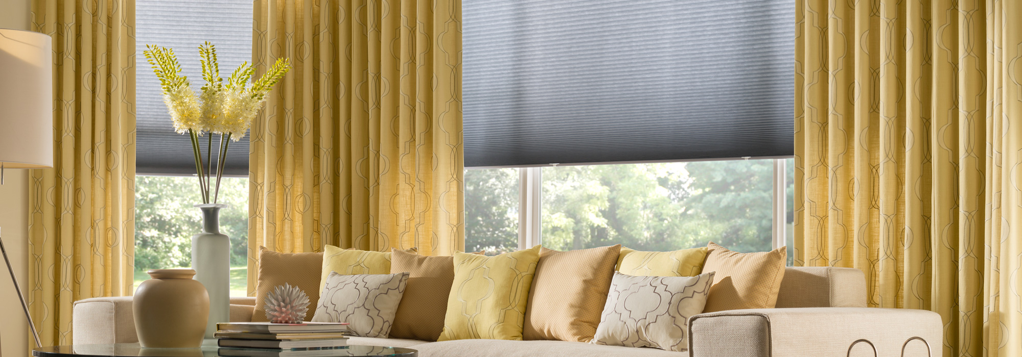 Glass Window With Bali Blinds And Yellow Curtains Plus Sofa Set For Living  Room Decor Ideas