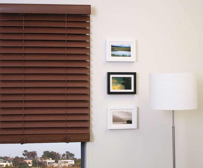 Glass Window With Horizontal Brown Bali Blinds On White Wall For Home Interior Design Ideas