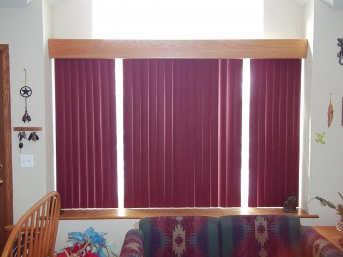 Glass Window With Vertical Bali Blinds On White Wall For Home Interior Design Ideas