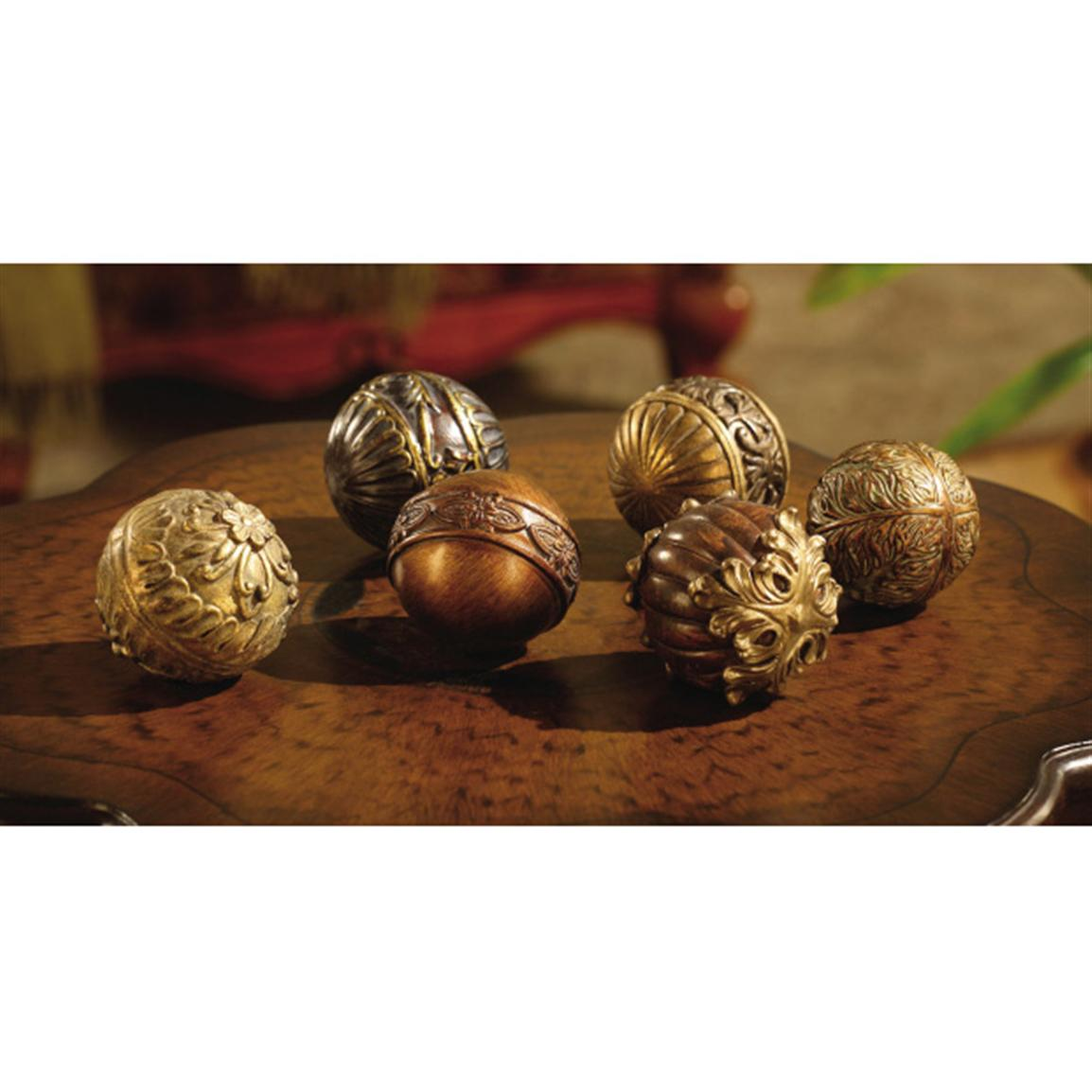 golden decorative orbs for table accessories ideas