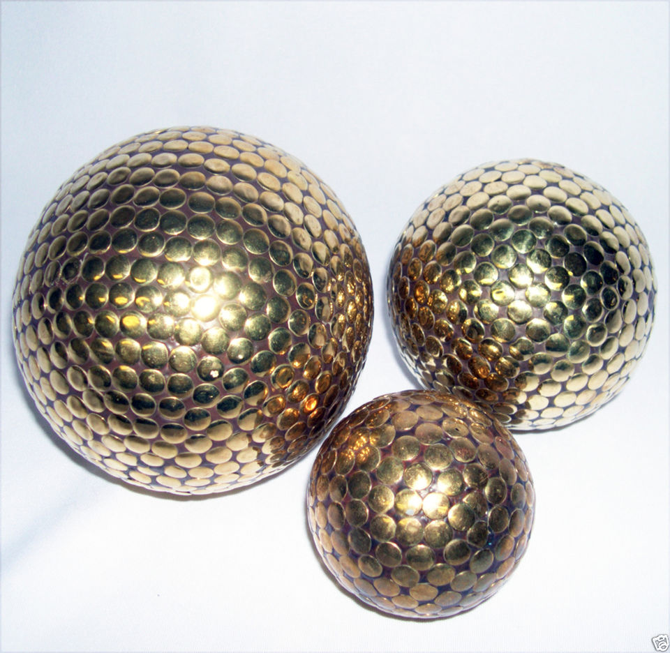 golden decorative orbs set of three for table accessories ideas