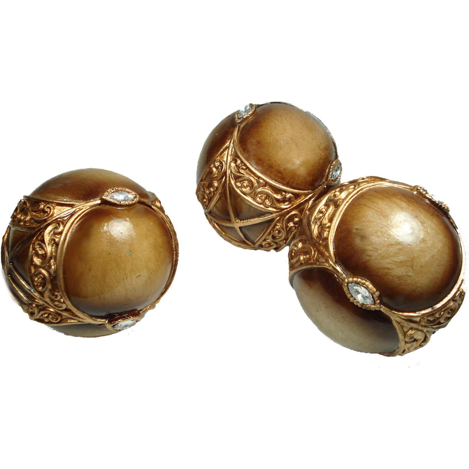 golden decorative orbs with crystal ornament for luxury table accessories ideas