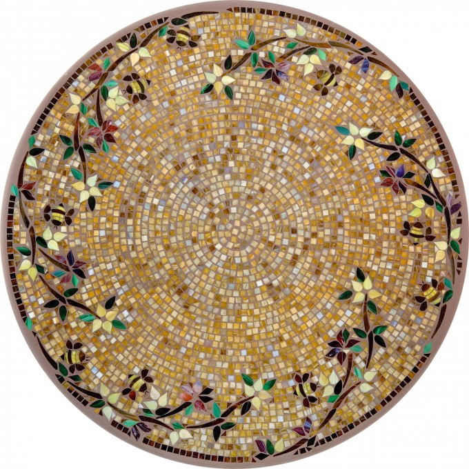 Golden Mosaic Bistro Table With Charming Motif Design For Home Furniture Ideas