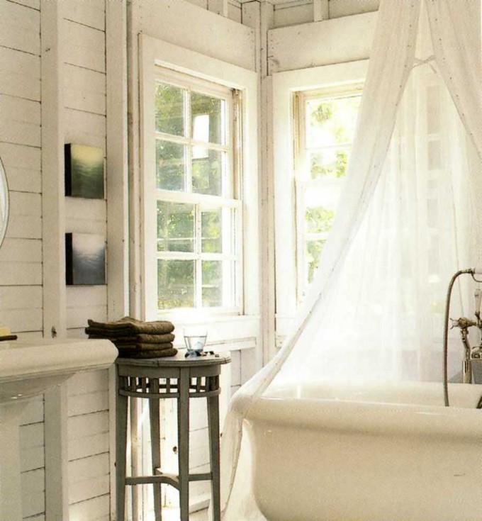 Gorgeous Rural Clawfoot Tub With White Curtains And White Wall For Bathroom Decor Ideas