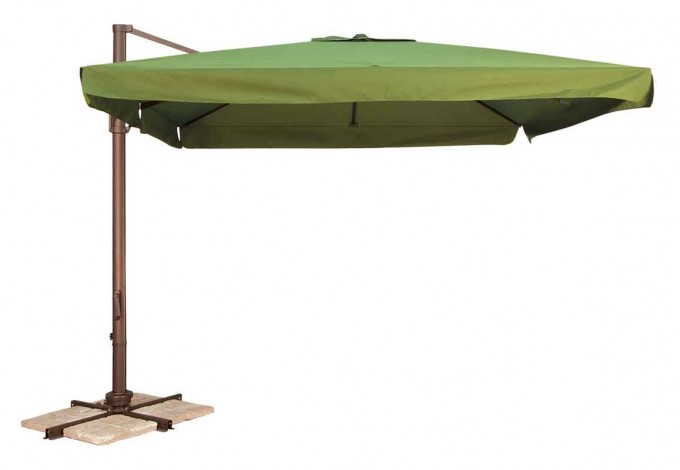 Green Cantilever Patio Umbrella With Golden Metal Stand For Patio Furniture Ideas
