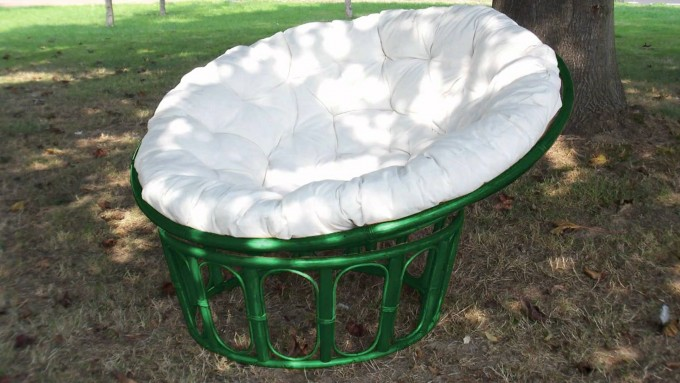 Green Rattan Outdoor Papasan Chair With White Cushion Seat For Outdoor Furniture Ideas