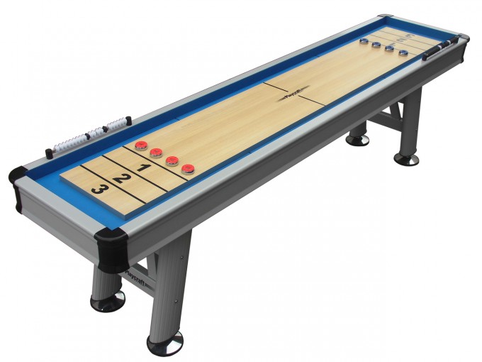 Grey Blue And Black Theme Of Shuffleboard Table For Sale