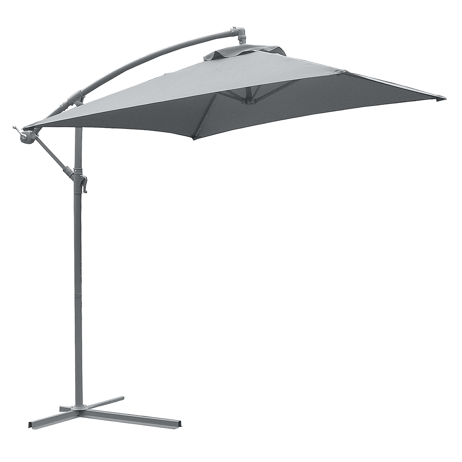 grey cantilever patio umbrella with grey metal stand for patio furniture ideas