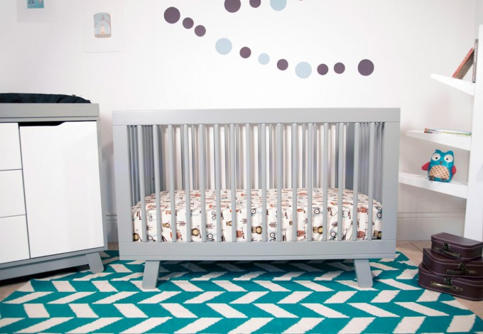 Grey Crib By Babyletto On Blue Carpet For Nursery Decor Ideas