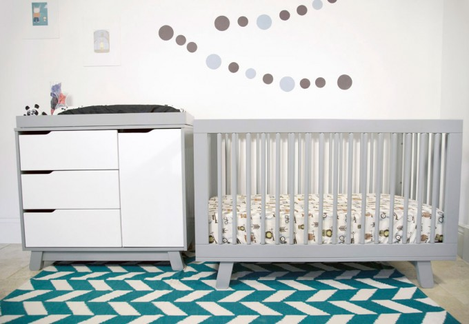 Grey Crib By Babyletto On Chevron Carpet Plus White Cabinet And White Wall For Nursery Decor Ideas