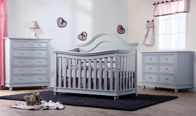 Grey Crib By Munire Crib Plus Matching Dresser On Wooden Floor With Black Carpet Matched With White Wall For Nursery Decor Ideas