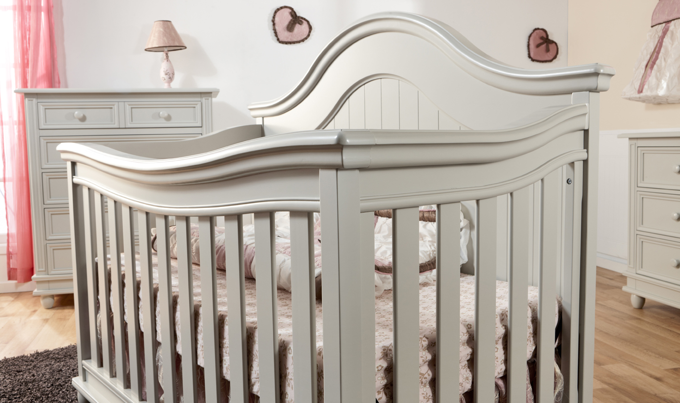 Grey Crib Munire Crib Plus Marching Dresser On Wooden Floor Matched With White Wall For Nursery Decor Ideas