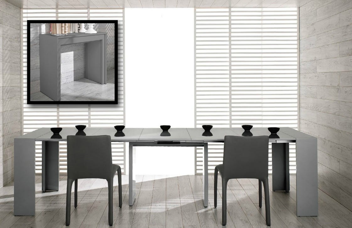 grey expandable dining table set with rectangular long table for dining room furniture ideas