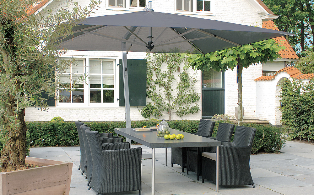 grey rectangle cantilever patio umbrella with grey dinning table for patio decor ideas