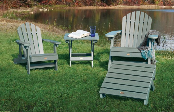 grey teak Adirondack Chairs with ottoman and matching table for patio decor ideas