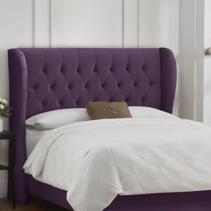 Heavenly Leather Upholstered Headboards In Purple Matched With White Bedding Plus Pillows For Bed Decor Ideas